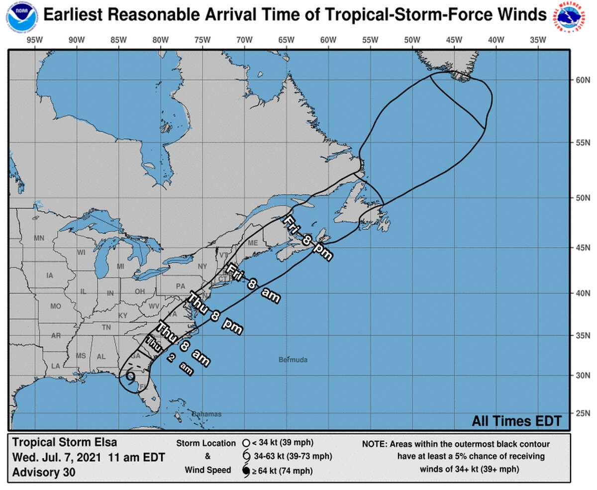 Estimated arrival time of winds from Tropical Storm Elsa.
