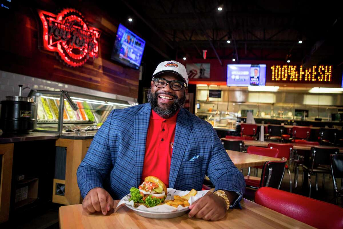 Nicholas Perkins, chairman and chief executive of Black Titan Franchise Systems, poses for a portrait at the Fuddruckers restaurant Monday, June 21, 2021 in Tomball. Luby's announced last week it would sell its Fuddruckers brand in a deal valued at $18.5 million to North Carolina franchisee Nicholas Perkins, who already operates 13 of the burger restaurants. Perkins plans to keep the chain's headquarters in Houston.