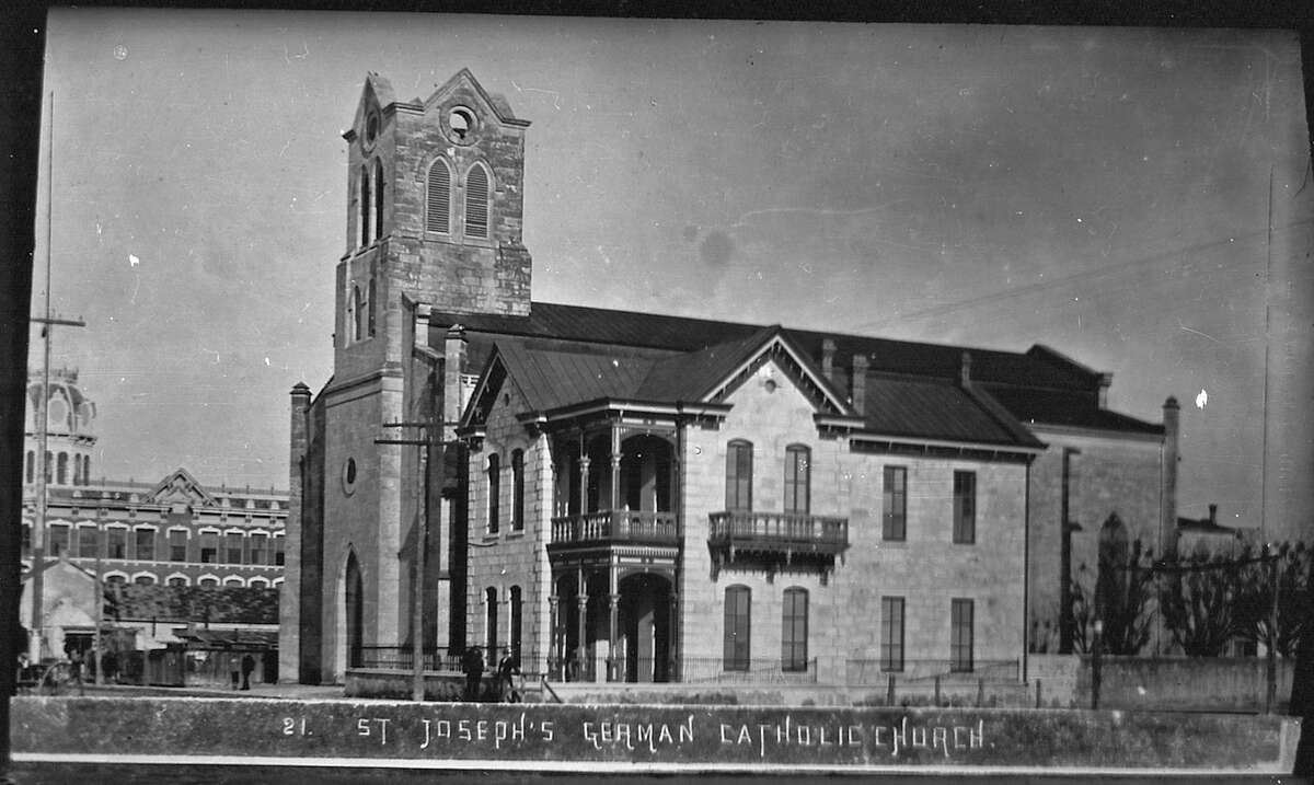 """St. Joseph Catholic Church, as seen in a photo believed to be between 1885 and 1898. The church dates back to 1868. It later got the nickname """"St. Joske's"""" for the former department store that built around it."""