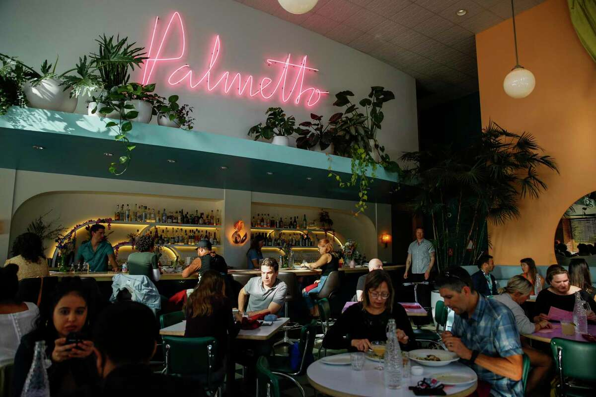 Palmetto Oakland, a restaurant and bar in downtown Oakland, Calif. filled with customers on Wednesday, June 23, 2021. Palmetto opened up two months ago in downtown Oakland.