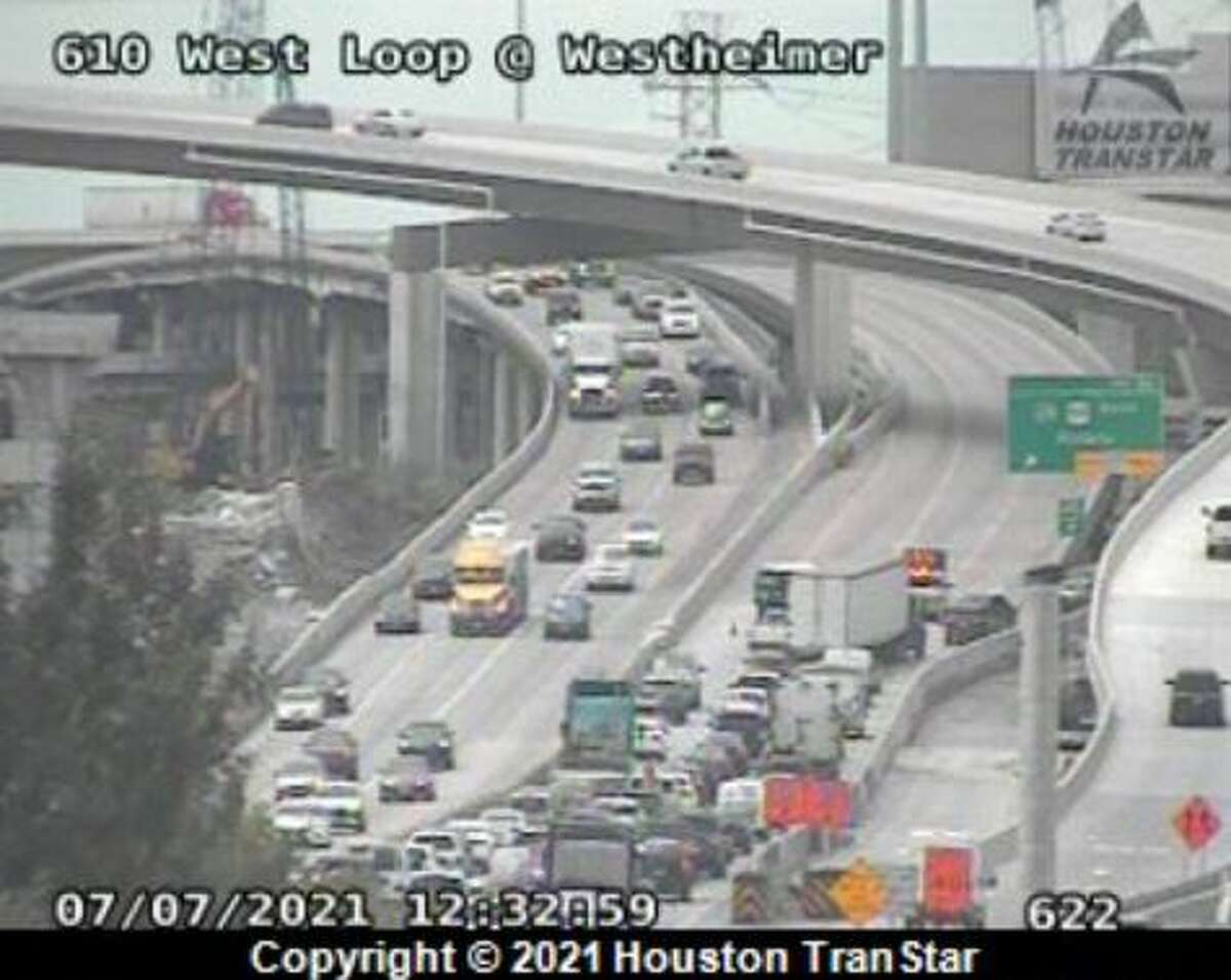 A crash Wednesday morning on the southbound West Loop near the Galleria is expected to delay traffic for hours.