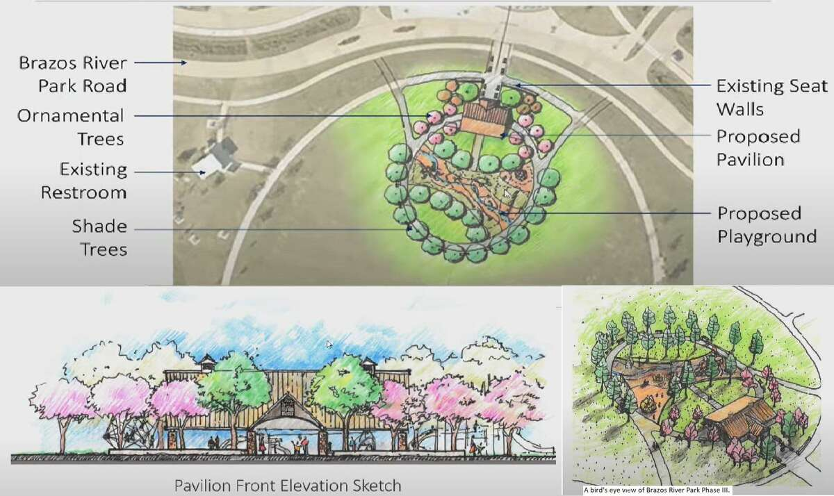 Phase III improvement plans include a bicycle pump track at the Crown Festival site and the development of a green, circular space accessible via the Brazos River Park Road, where a pavilion and playground will be built.