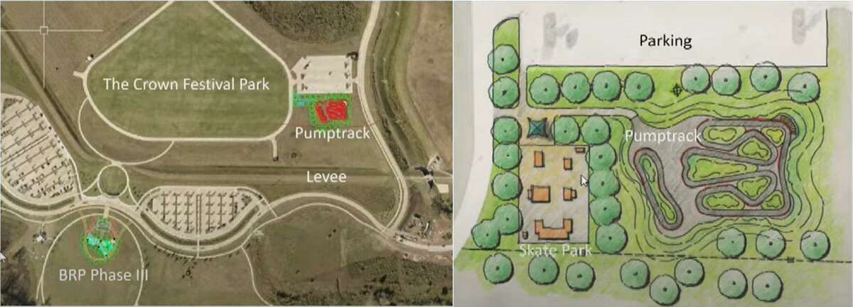 The proposed bicycle pump track will have a smaller loop for young or less experienced riders and a larger, interconnected track for more seasoned riders. The city pf Sugar Land is also mulling the possible relocation of the skate park from City Park.