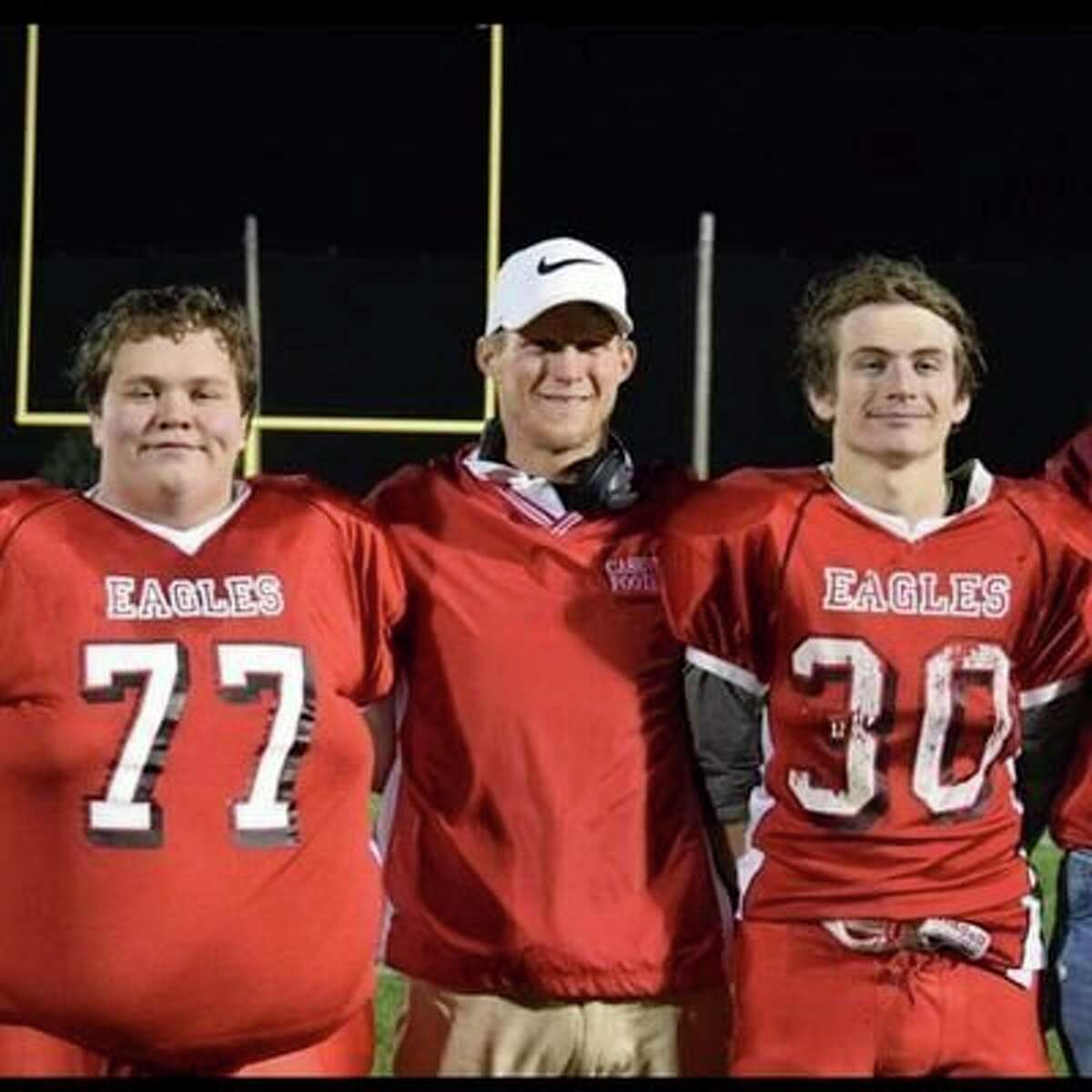 Sam Rogers (center) now makes the calls for both the Caseville football team and the school's athletic department. (Courtesy Photo)