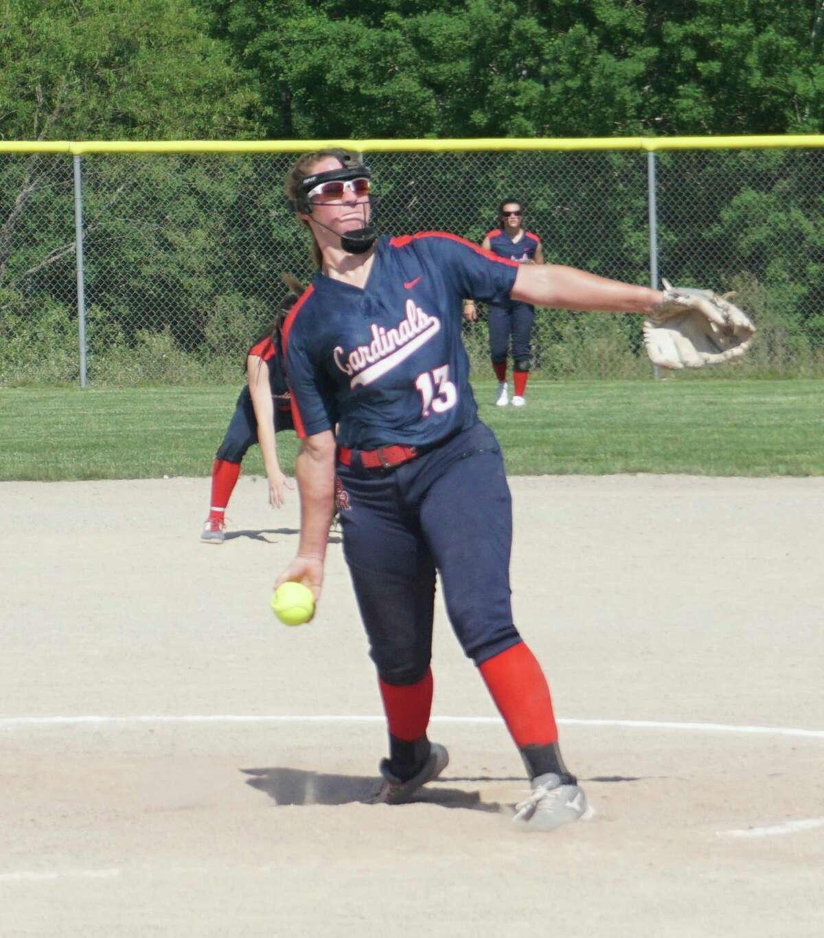 Sophomore Rylie Haist, of Big Rapids, delivers a pitch during a game against Howard City Tri County this season. (Pioneer file photo)