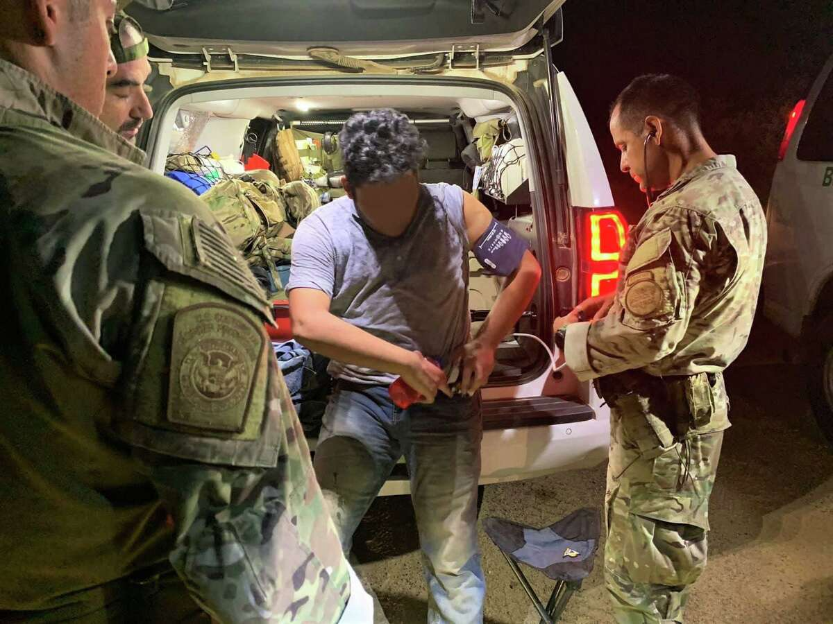 U.S. Border Patrol agents said this migrant had a sprained ankle when they rescued him. Authorities rendered aid to him and took him to a local hospital.