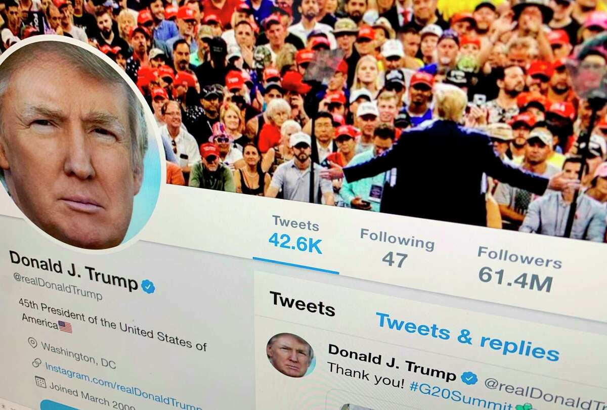 Donald Trump's former Twitter feed is shown on a computer screen. He has since been banned from the social media platform.