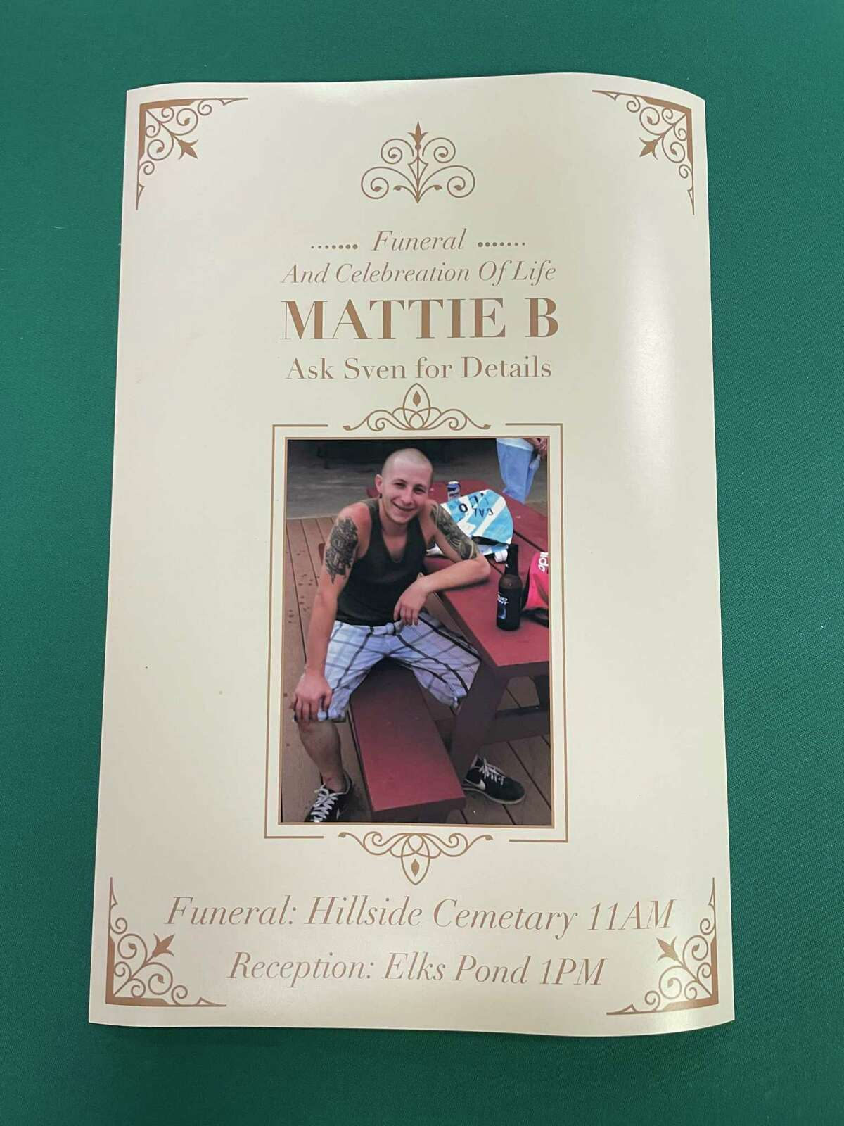 Matthew Bromley's funeral and celebration of life pamphlet.