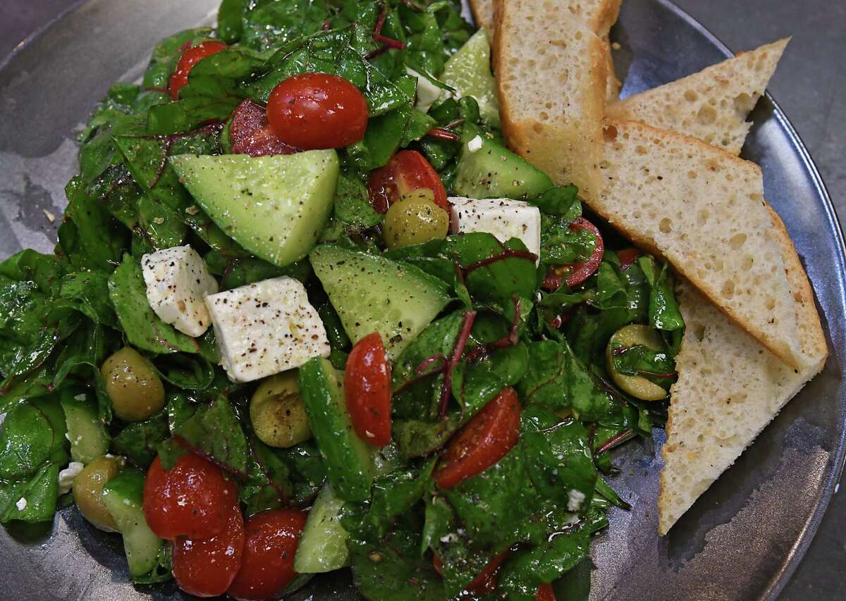 Caroline Barrett's marinated chard salad with feta and herbs. (Lori Van Buren/Times Union)