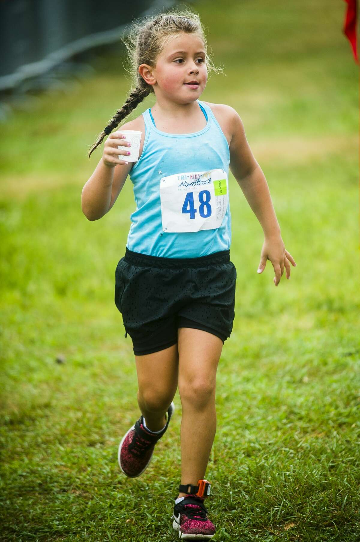 Viviana Shepherd competes in the July 21, 2018 Tri-Kids-Try triathlon at Plymouth Park.