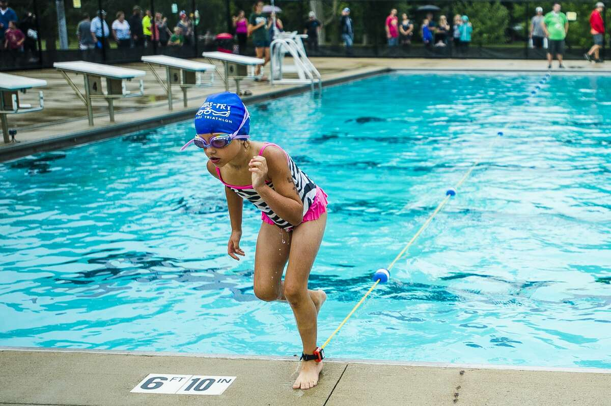 Addison Jones competes in the July 21, 2018 Tri-Kids-Try triathlon at Plymouth Park.