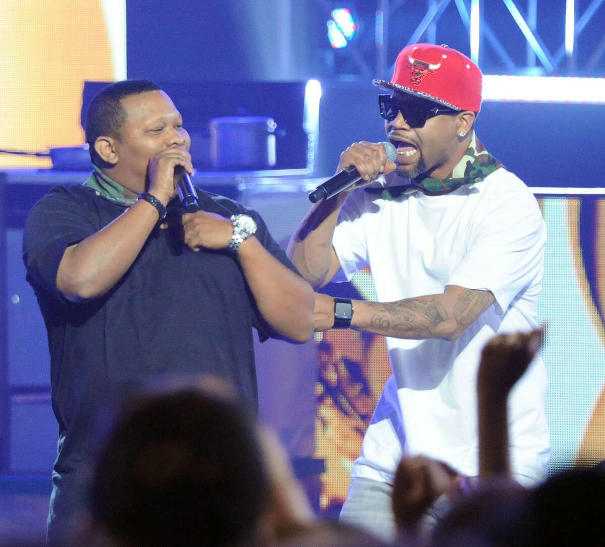 """Mannie Fresh and Juvenile join forces for """"Vax That Thang Up."""" (Photo by Chris McKay/WireImage)"""