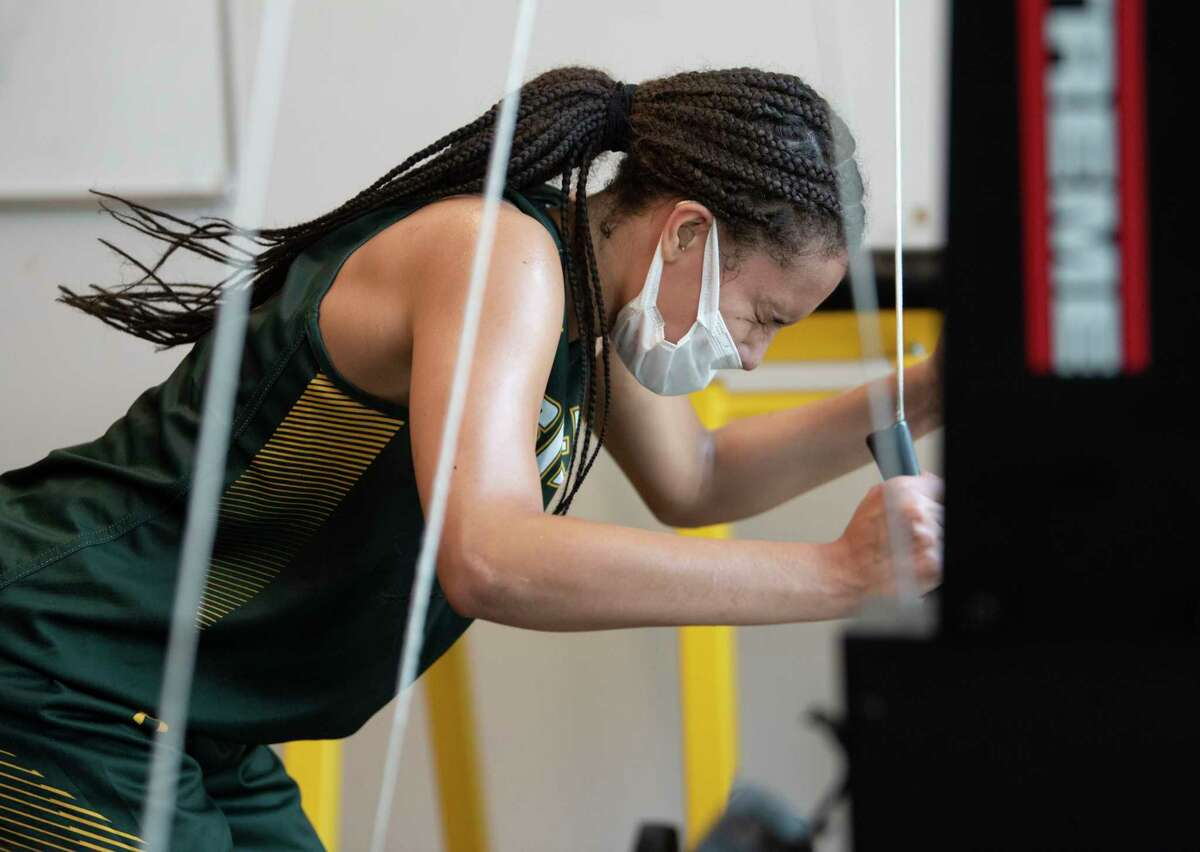 Valencia Fontenelle-Posson works out as Siena women's basketball holds summer workouts at Siena College on Wednesday, July 7, 2021, in Loudonville, N.Y. (Lori Van Buren/Times Union)
