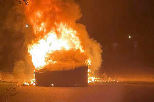 A photo of a Tesla Model S Plaid that recently caught on fire in Haverford, Pennsylvania.