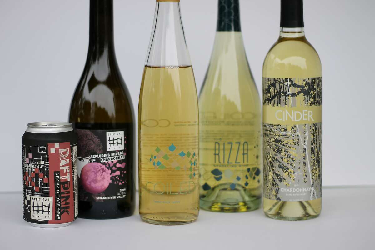 Some of the Idaho wines I brought back with me from my recent road trip, from left: Daft Pink sparkling wine from Split Rail Winery, Exploding Mirror Chardonnay from Split Rail Winery, Dry Riesling from Coiled Wines, Rizza sparkling wine from Coiled Wines and Chardonnay from Cinder Wines.
