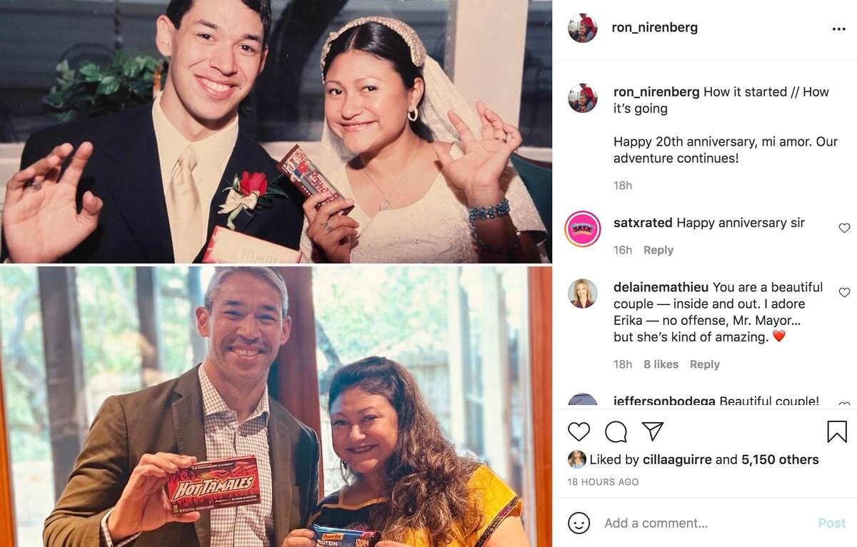 Mayor Ron Nirenberg and Erika Prosper celebrated their 20th anniversary on Tuesday. Nirenberg posted a photo of the couple recreating a wedding day photo.