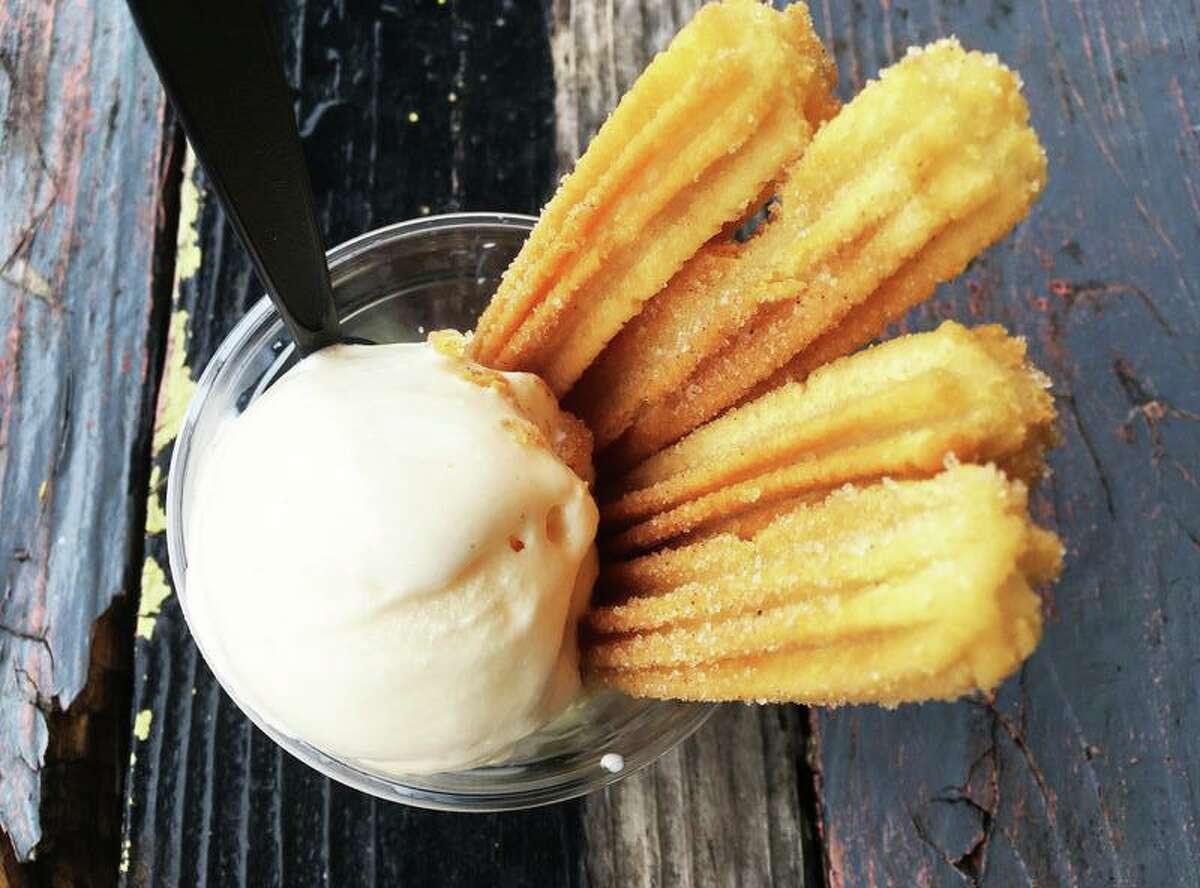 The churro sundae at Churro Star with vanilla ice cream.