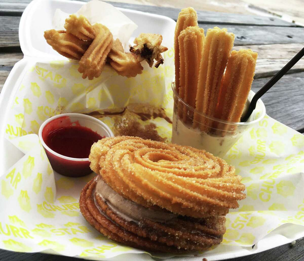 Items at Churro Star include, clockwise from top left, traditional churros with dipping sauce, churro relleno, churro sundae and a churro sandwich.