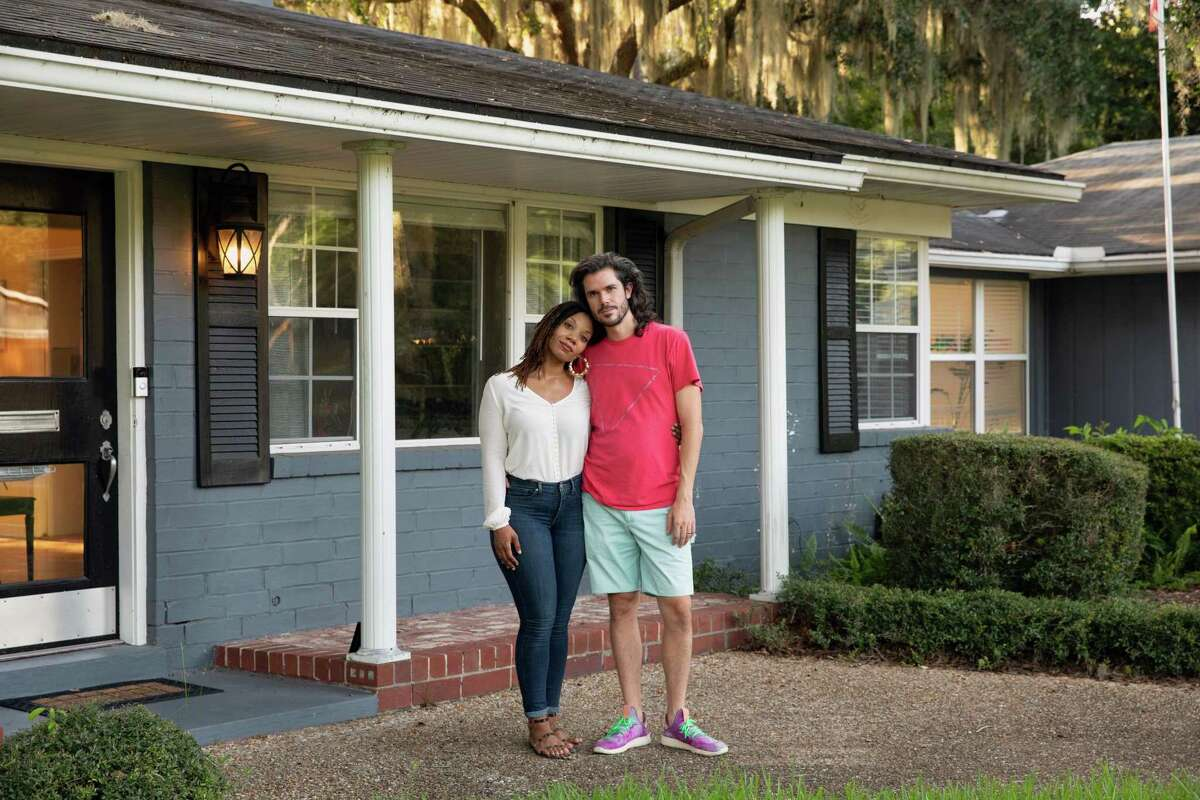 Abena and Alex Horton at their home in Jacksonville, Fla., on July 31, 2020. A second appraisal valued the home home 40 percent higher than the first appraisal, after Abena Horton removed all signs of Blackness. (Charlotte Kesl/The New York Times)