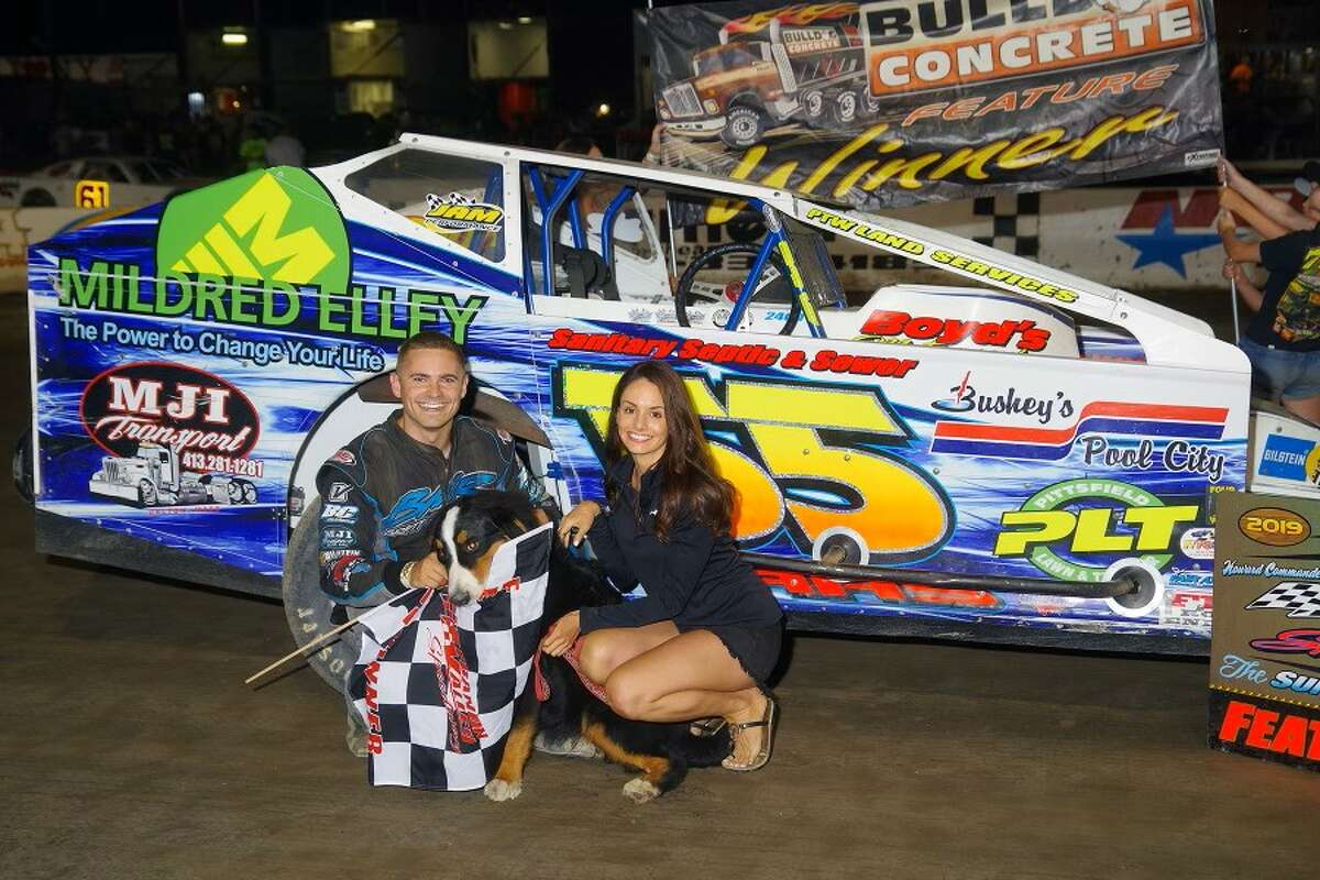 Driver Brett Haas, left, and his wife Abby Haas.