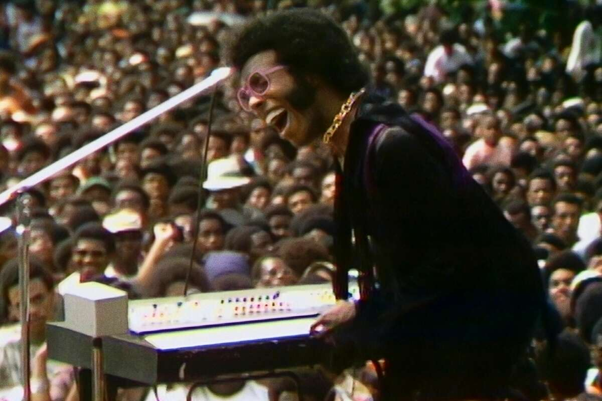 """Sly Stone performs at the Harlem Cultural Festival, as documented in the new film """"Summer of Soul."""""""