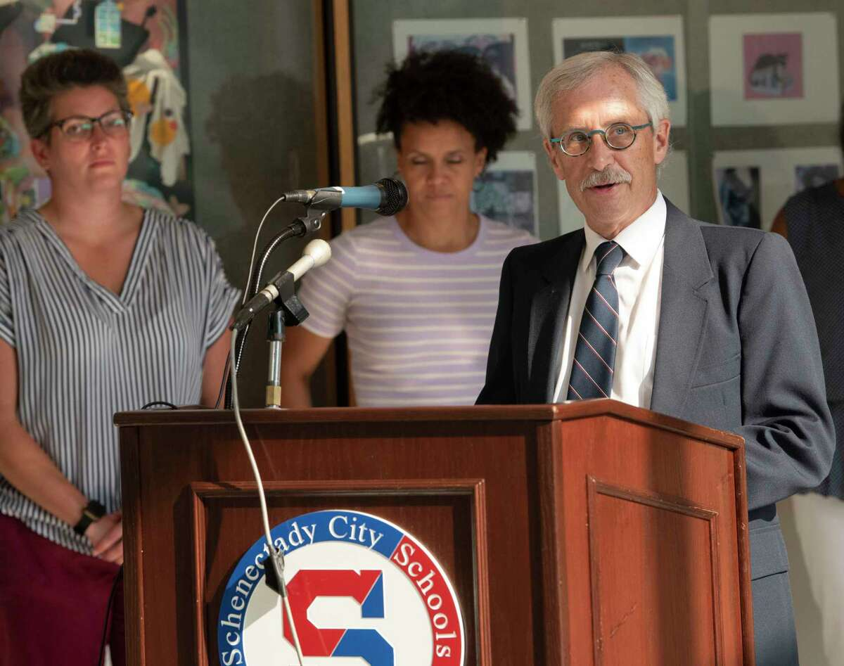 John Foley, outgoing school board president, announces the board's selection and introduce Anibal Soler, Jr. as the next Superintendent of Schools on Wednesday, July 7, 2021 in Schenectady, N.Y. (Lori Van Buren/Times Union)