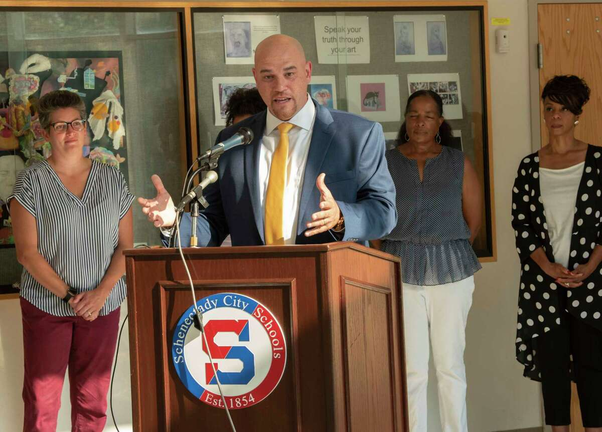 Schenectady schools superintendent Anibal Soler, Jr. on Wednesday outlined the districts plans to resume widespread in-person instruction when schools reopen next month. Masks will be mandatory for students and staff and the district will insist on keeping 3 feet between people as educators confront education under COVID-19.(Lori Van Buren/Times Union)