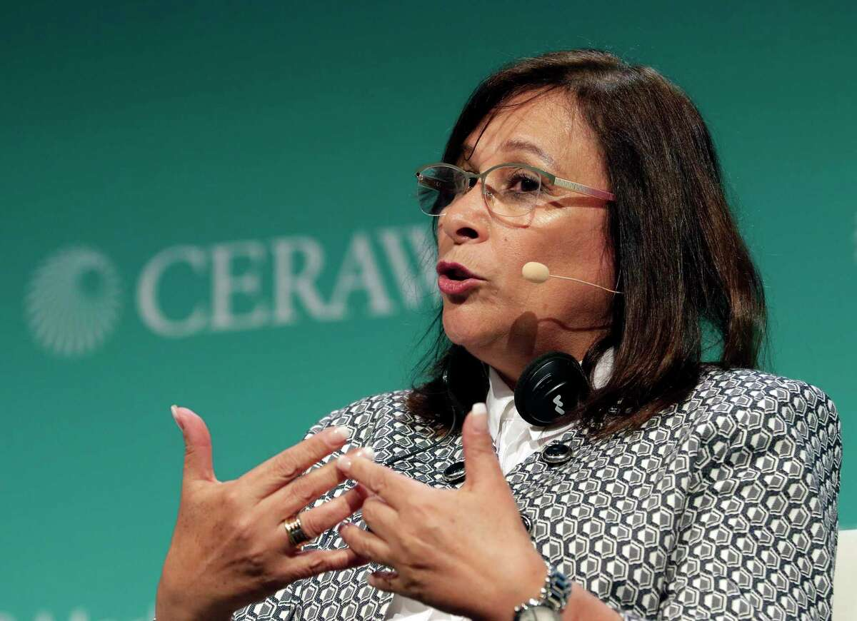 Rocio Nahle Garcia, Secretary of Energy, Ministry of Energy Mexico, at CERAWeek by IHS Markit in Houston in 2019. On July 2, she informed Talos Energy that she had designated Pemex, the Mexican national oil company, as the operator of an oil field that the Houston oil explorer had discovered.