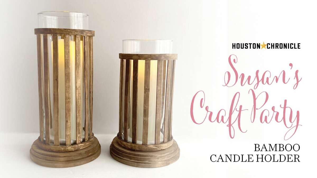BAMBOO CANDLE HOLDER Make a bamboo candle holder to place over a dollar store vase.