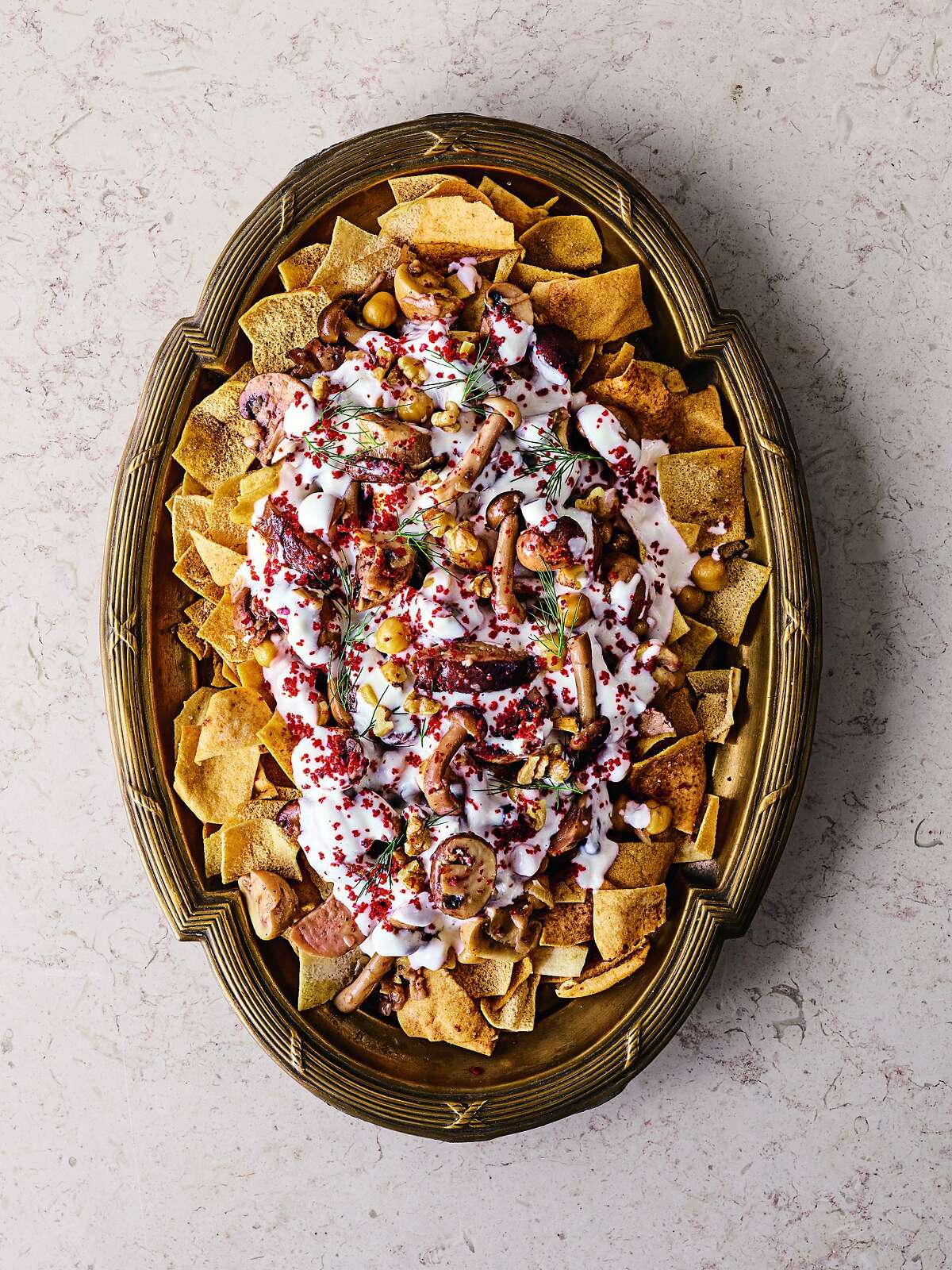 """Shiitake mushroom fatteh from """"The Arabesque Table"""" by Reem Kassis."""