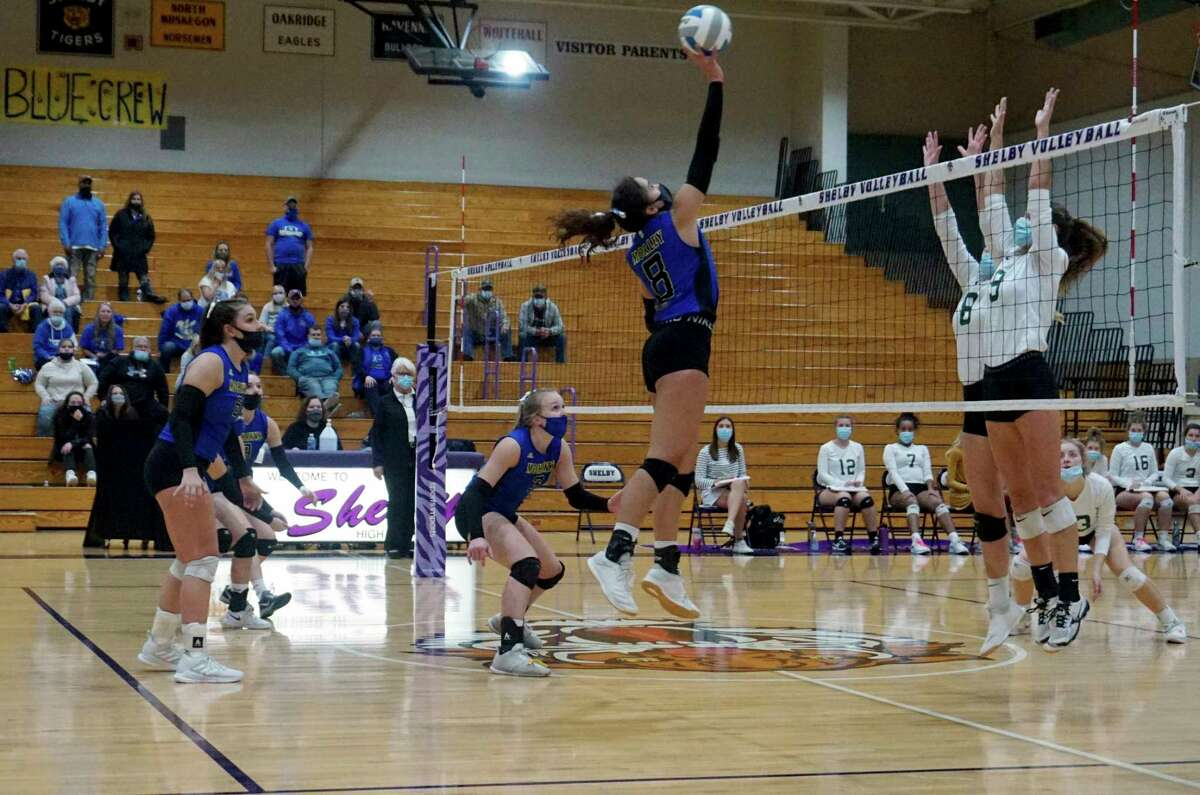 Morley Stanwood's Braelyn Berry finesses the ball over the net during a match from the '20 season. (Pioneer file photo)