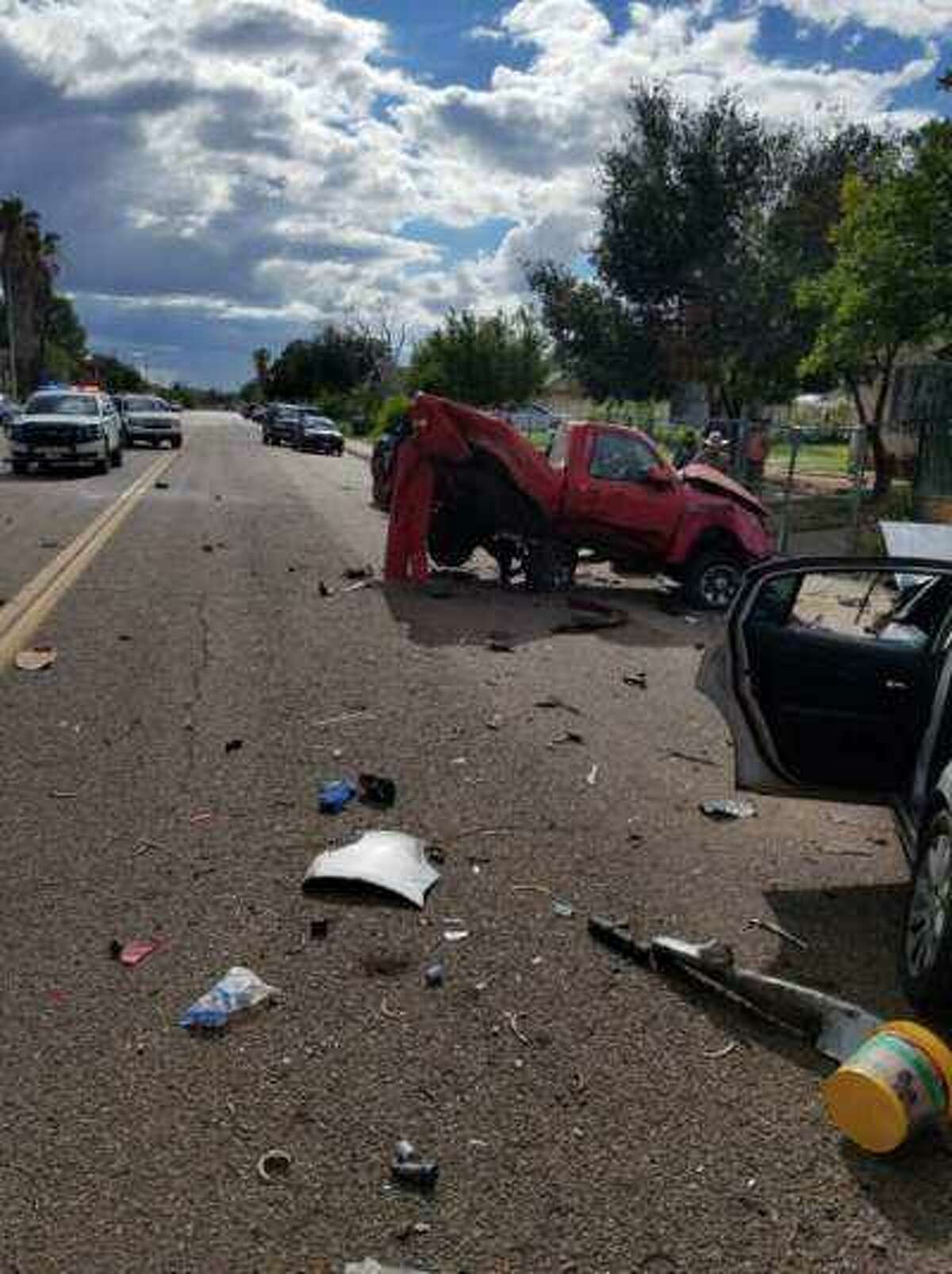 A crash was reported on Wednesday afternoon at the intersection of Prada Machin Drive and Burgos following an alleged human smuggling attempt.