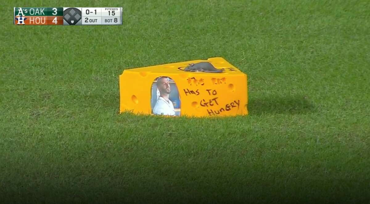 This block of cheese was thrown on the field to taunt Mike Fiers during the Astros win over Oakland on Wednesday, July 7, 2021.