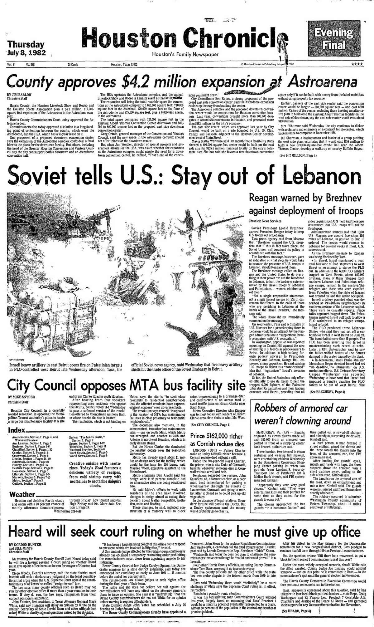 Houston Chronicle front page from July 8, 1982.