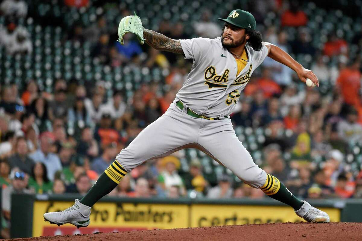 Oakland Athletics starting pitcher Sean Manaea delivers during the first inning of the team's baseball game against the Houston Astros, Wednesday, July 7, 2021, in Houston. (AP Photo/Eric Christian Smith)