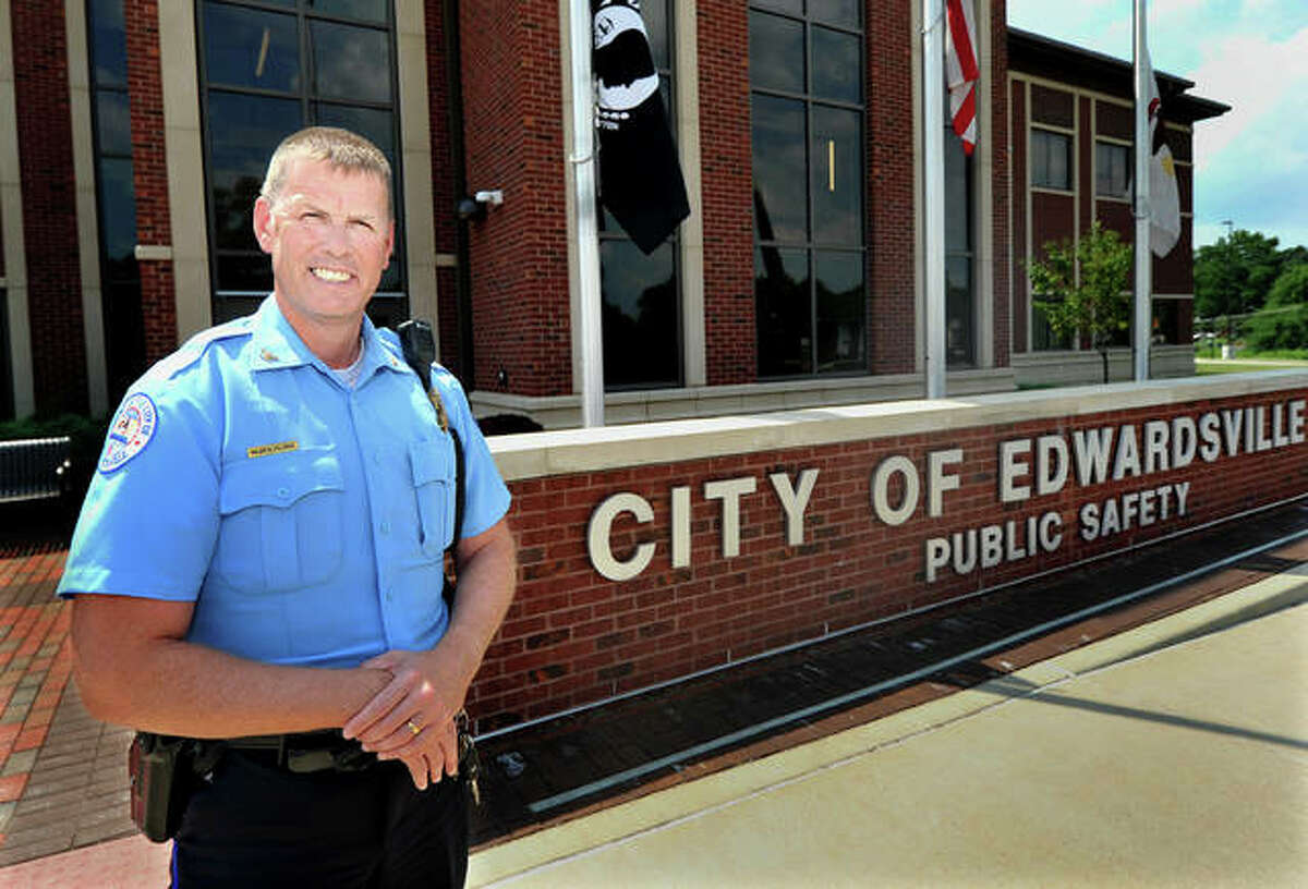 Edwardsville's new Police Chief Michael Fillback Wednesday at the Public Safety Building. Fillback succeeds former police chief Jay Keeven, who resigned June 30.