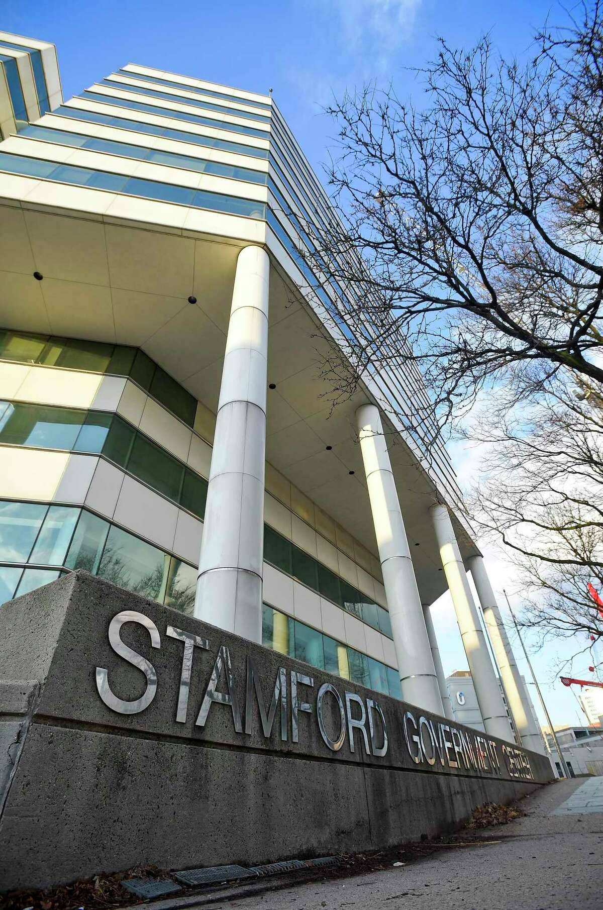 A general exterior photograp taken on Dec. 11, 2019 of the Stamford Government Center in Stamford, Connecticut.