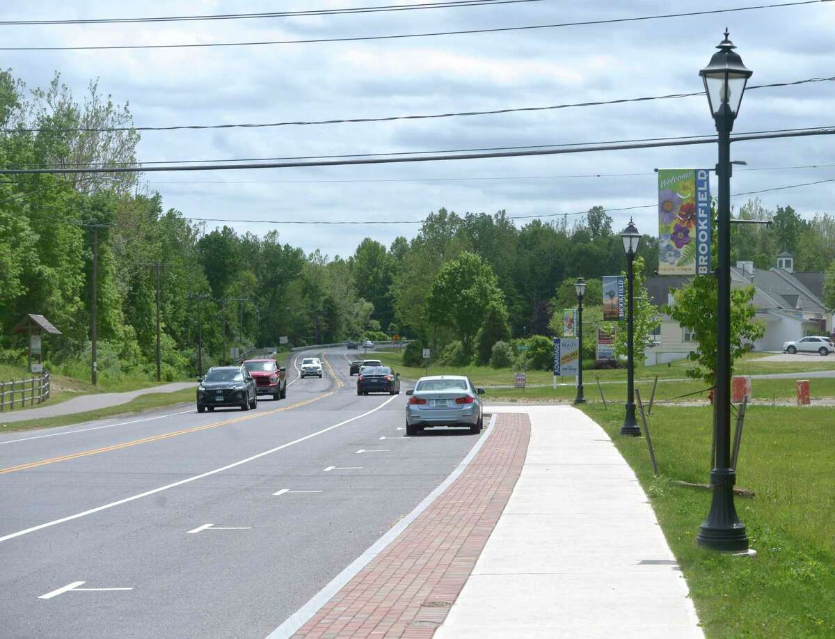 Phase 3 of the Brookfield four corners project will extend the sidewalk down Federal Road where it will then turn into Old Route 7 and end at Laurel Hill Road. The plan includes sidewalk on both sides of Old Route 7, where no sidewalk currently exists. Monday, May 24, 2021, in Brookfield, Conn.