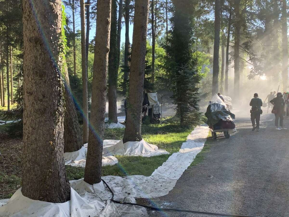 This Christie Hill Road property was home to some summer time snow, thanks to a special effects crew shooting scenes for a coming Netflix film.