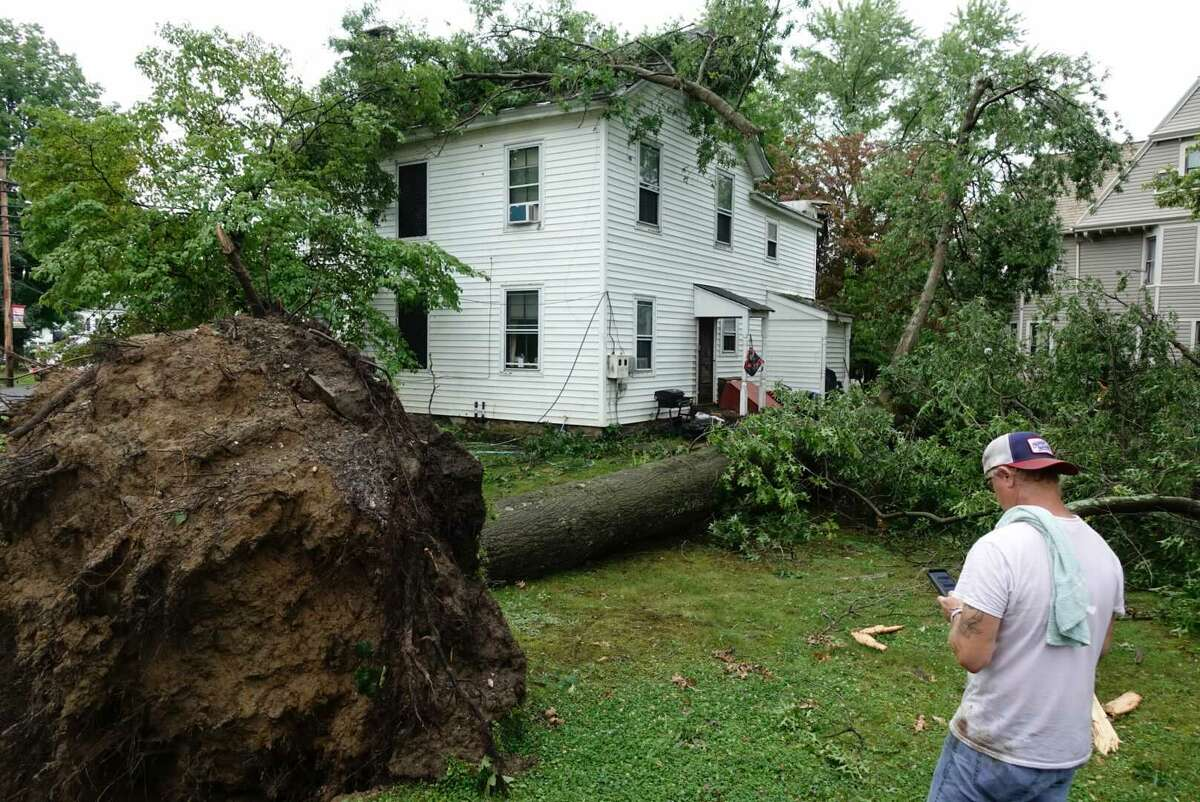A severe thunderstorm hit the village of Coxsackie Wednesday late afternoon July 7, 2021. The National Weather Service is trying to determine what weather event caused trees to uproot across the village.