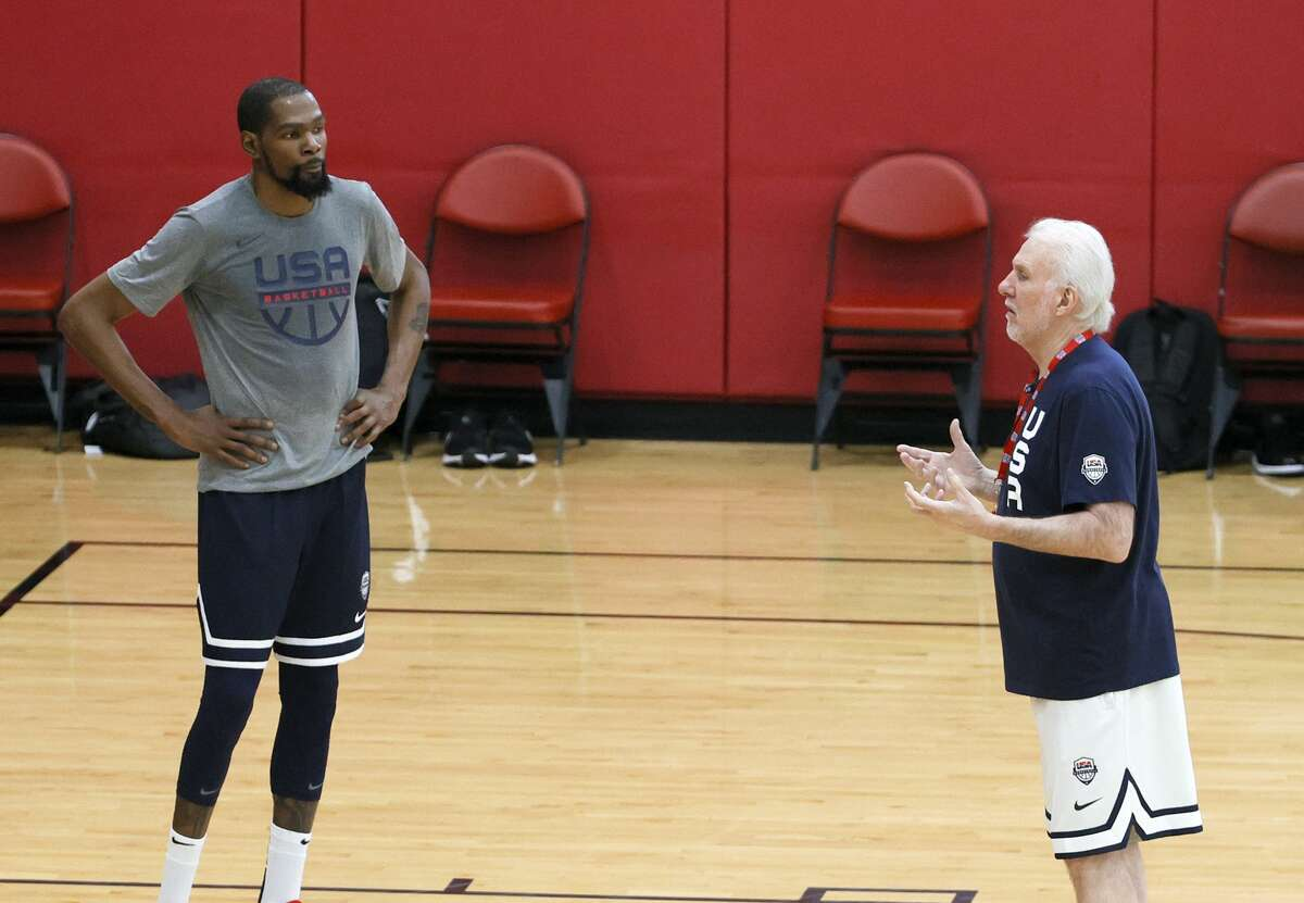 Spurs Coach Gregg Popovich is readying Team USA for the Tokyo Olympics, but he would've been pleading with Brooklyn Nets star Kevin Durant had he shown any hesitations of playing.