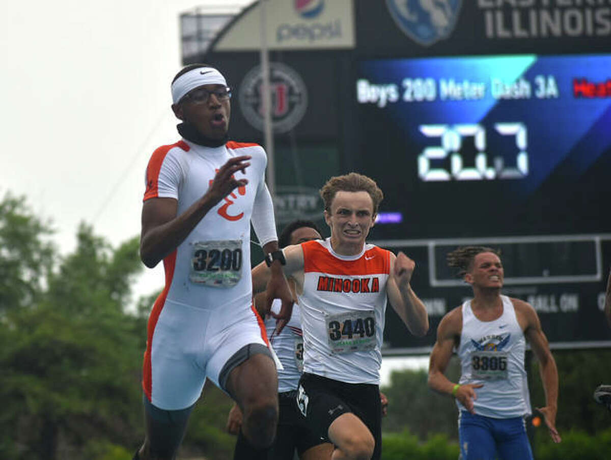 Edwardsville senior Brandon Battle competes in the 200-meter dash at the Class 3A boys state track and field meet on Saturday in Charleston.