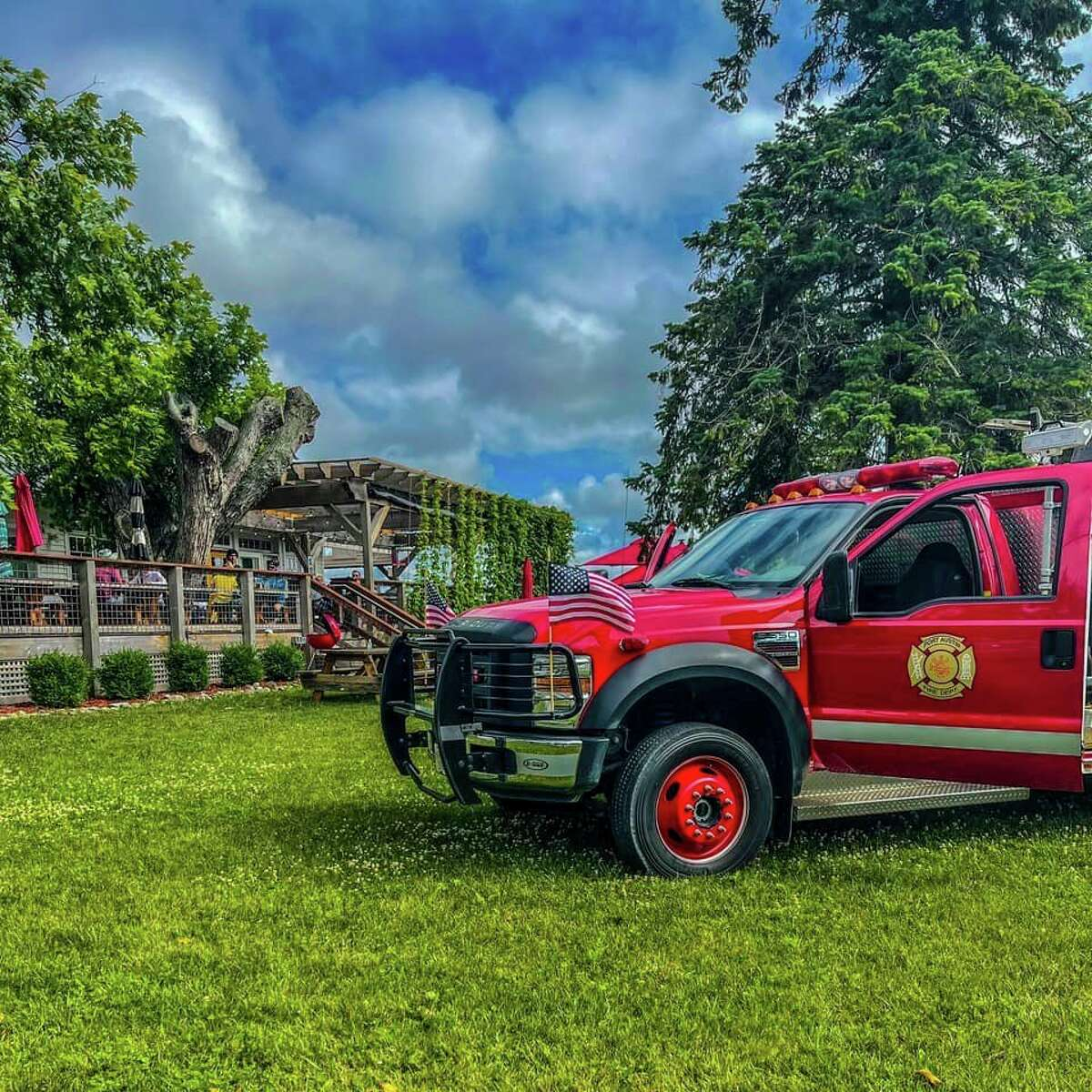 The Port Austin Fire Department truck parked at Bird Creek Farms for the July 1 fundraiser. (Josh Bletl/Courtesy Photo)