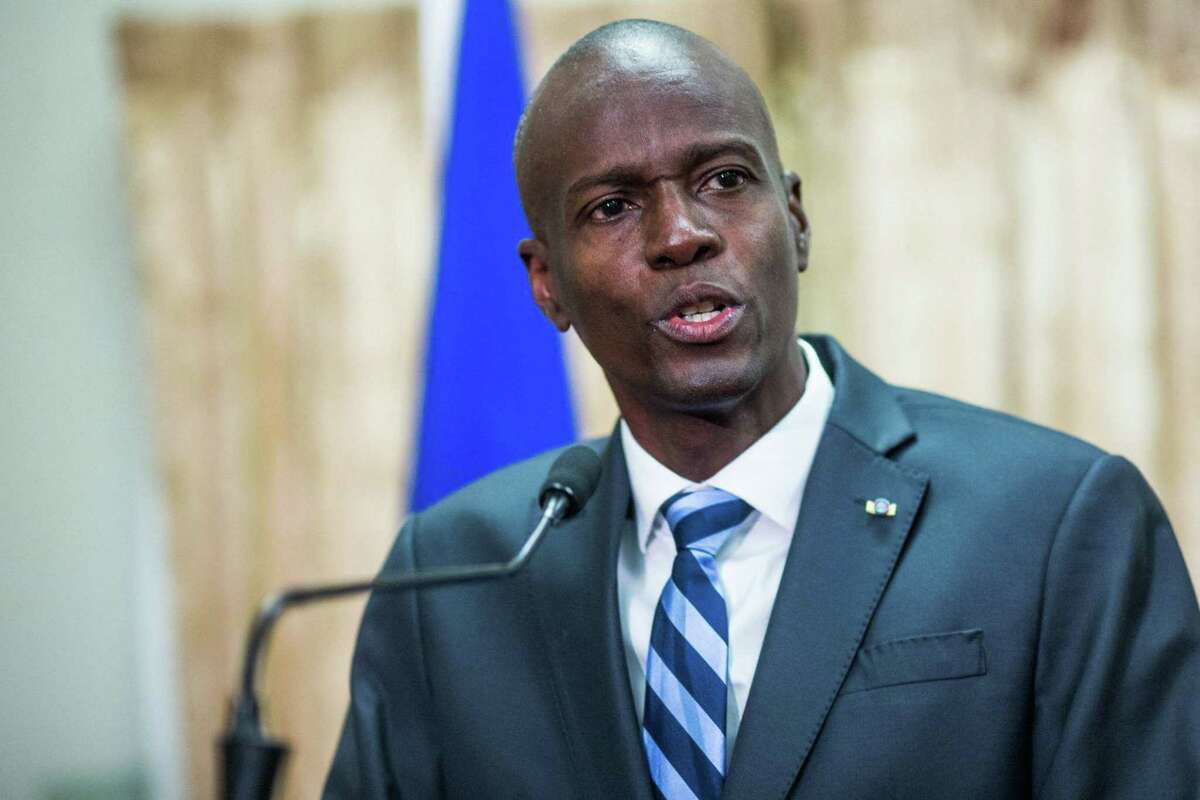 In this file photo former Haitian President Jovenel Moise speaks at the swearing in ceremony for Prime Minister Jack Guy Lafontant at the National Palace in Port-au-Prince on February 24, 2017.