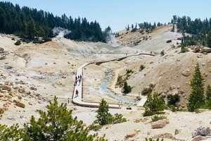 The boardwalk of Lassen Volcanic National Park's Bumpass Hell.