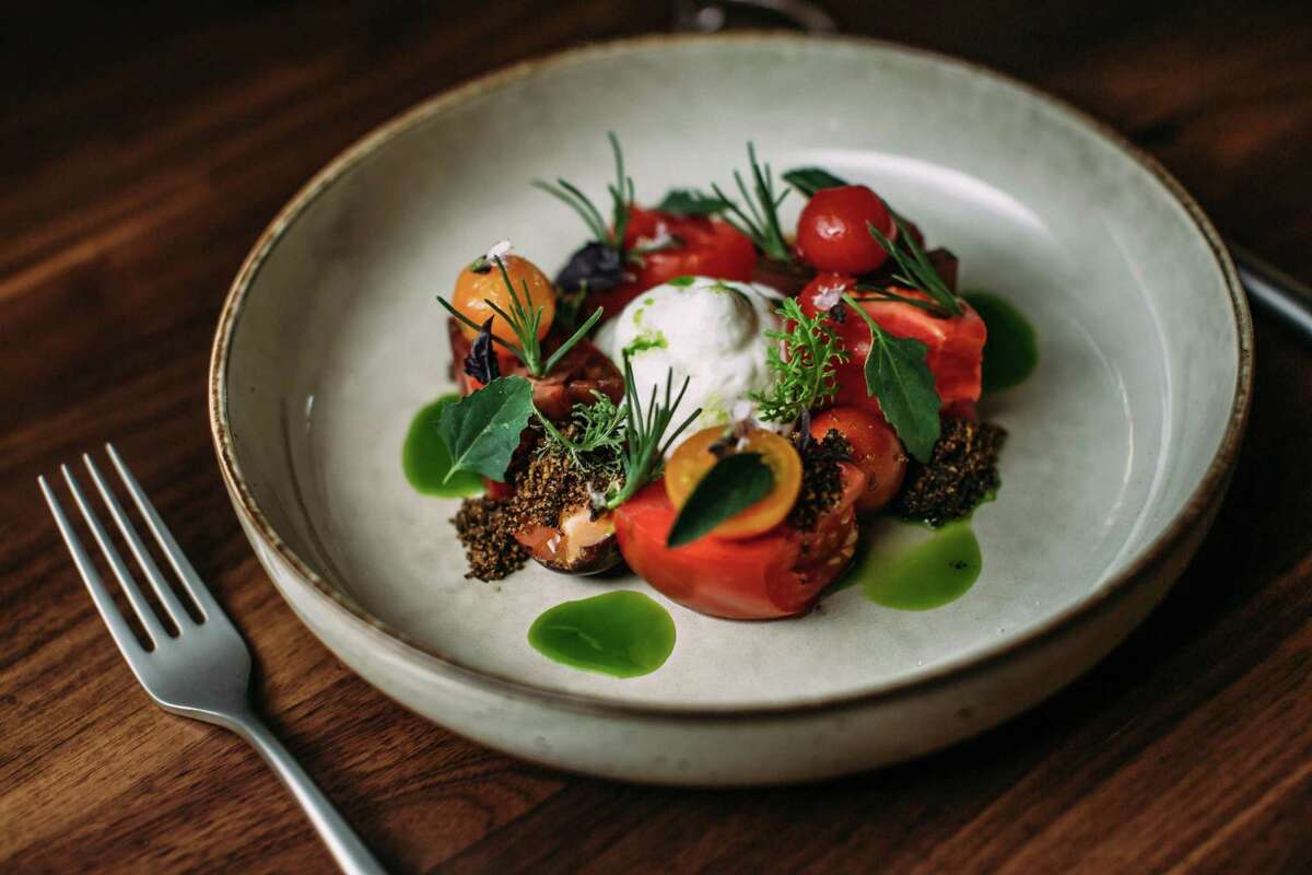Heirloom tomato salad with burrata at the Matheson, Dustin Valette's new restaurant coming to Healdsburg.