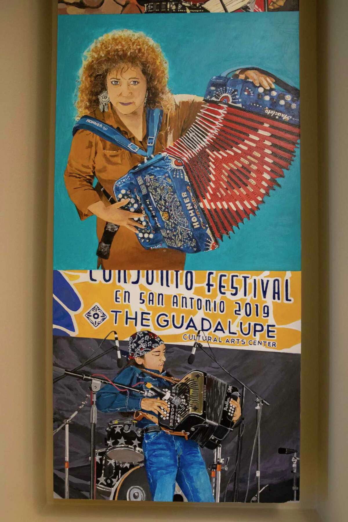 """""""Music in the City,"""" a triptych about San Antonio's music scene created by Raul Rene Gonzalez, includes a panel dedicated to Tejano and conjunto music."""