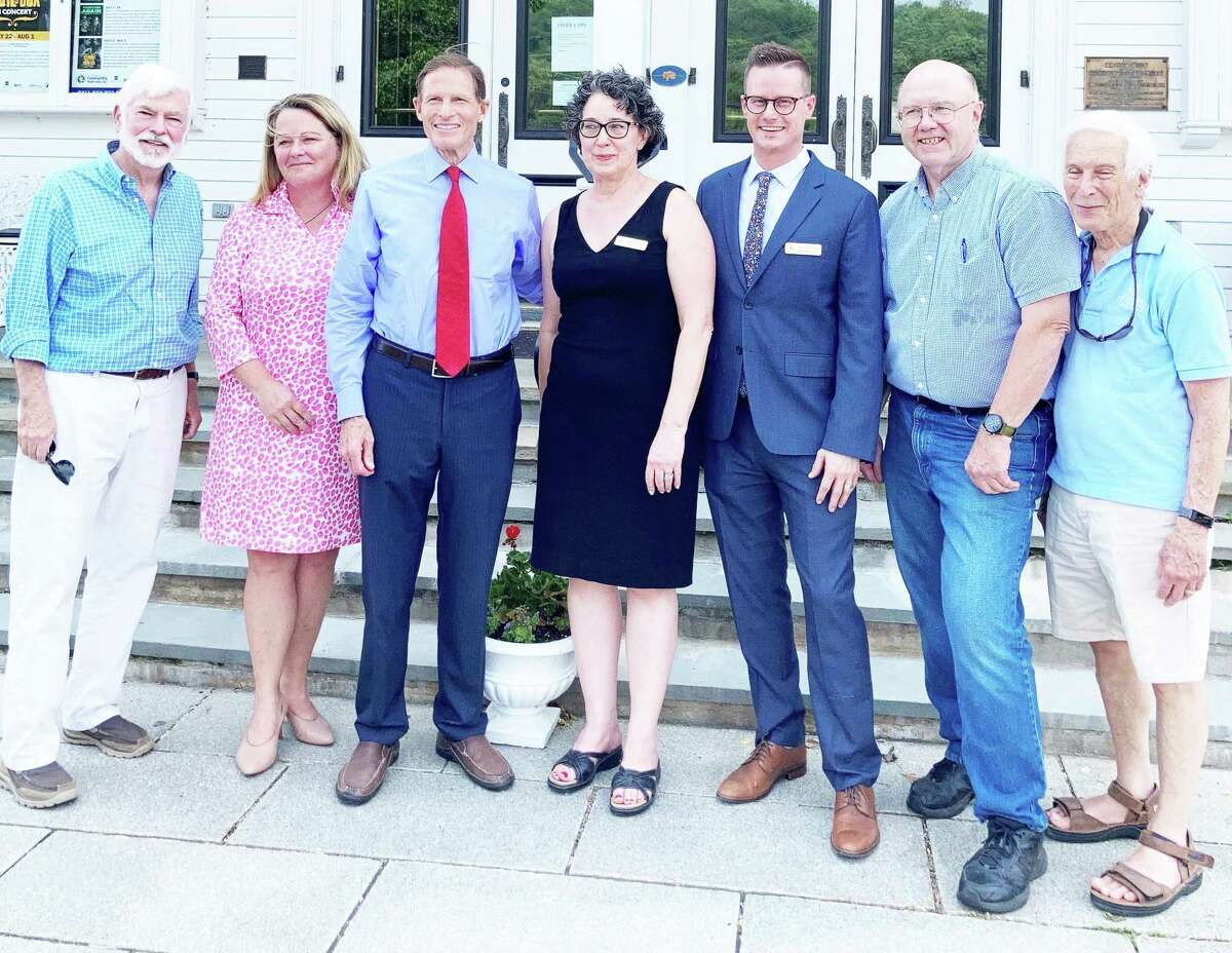 U.S. Sen. Richard Blumenthal, D-Connecticut, third from left, announced Wednesday that Goodspeed Opera House in East Haddam received a multi-million dollar federal grant through the Shuttered Venue Operators Grant program.