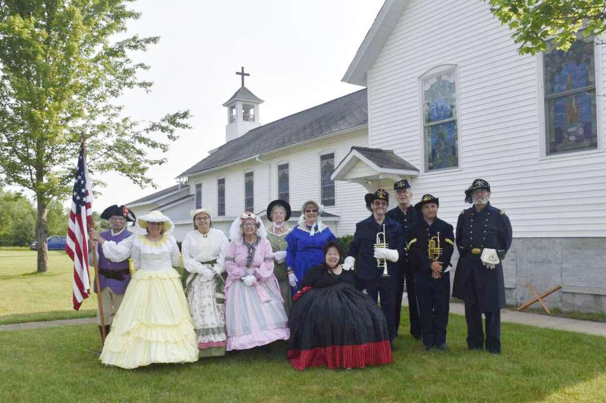 The Michigan Second Cavalry Civil War reenactors returned for Mass at St. John Cantius Church in Free Soil.