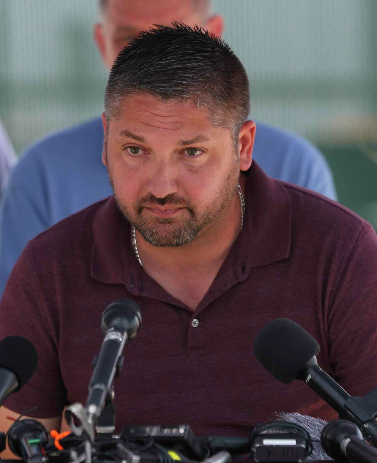 Santa Fe Mayor-Elect Jason Tabor talks during a press briefing outside of Santa Fe High School on Saturday, May 19, 2018, in Santa Fe. The shooting on Friday killed 10 people and wounded 13.